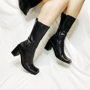 Vintage Leather Square Boots